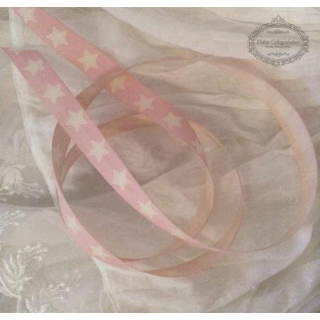 SchleifenBand Rosa Cream Sterne