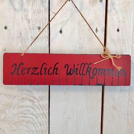 HolzSchild *Herzlich Willkommen* Rot