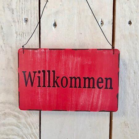 HolzSchild * Willkommen Türschild Rot