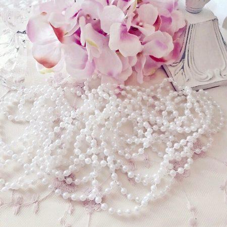 Perlenband Perlenkette Weiß