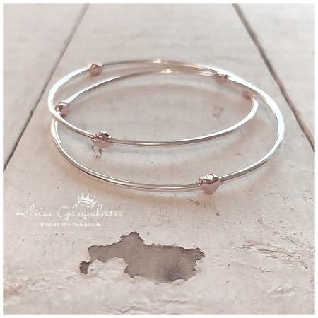 Joma Jewellery ArmReifen mit Herzen in Silber RoseGold
