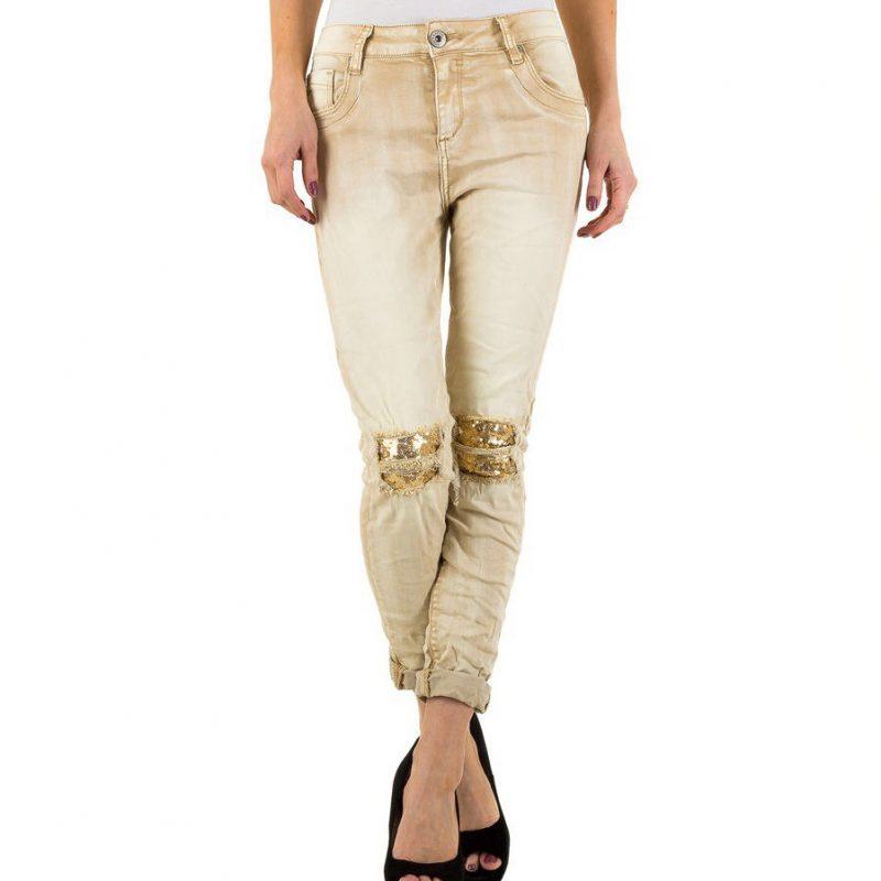 Jeanshose Beige Hose Damen Mode Kleine Gelegenheiten