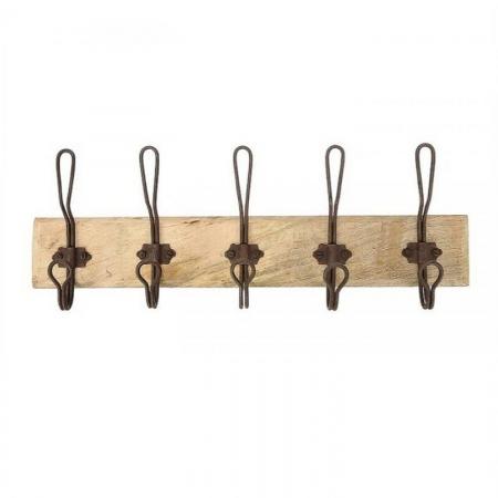 Garderobe 5 Haken Holz Metall Shabby