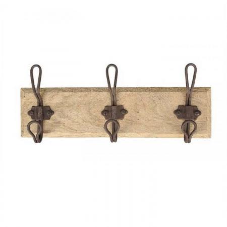 Garderobe 3 Haken Holz Metall Shabby