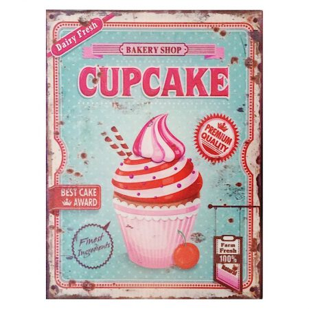 MetallSchild Retro Cupcake in Blau