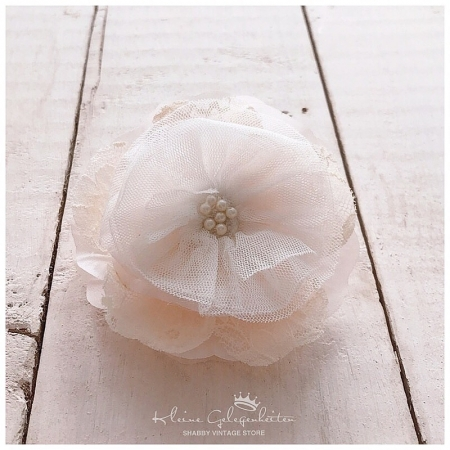 Jeanne d'Arc Living Brosche Blume Spitze Cream Rosa
