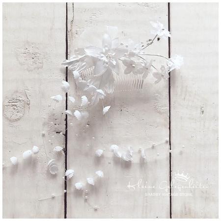 Haarkamm mit Blüten & Perlen