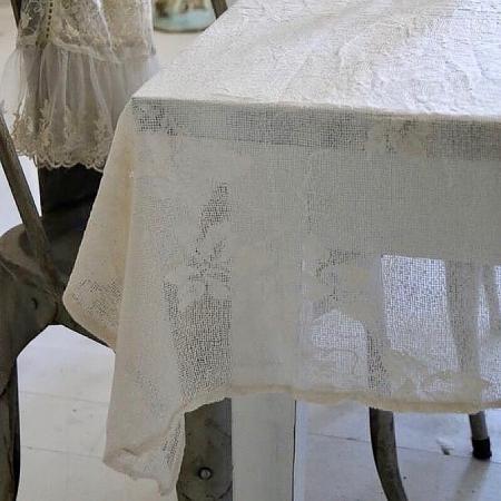 Tischdecke Spitze Cream Blumen Jeanne d'Arc Living