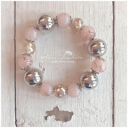 Zwillingsherz Armband mit Perlen Altrosa Silber