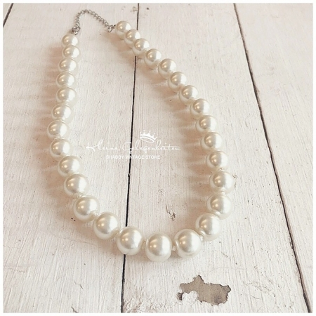 Zwillingsherz Halskette Champagner Perlen