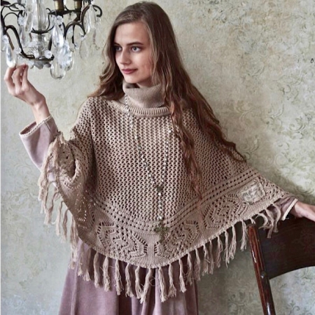 Jeanne d'Arc Living Poncho in HellBraun