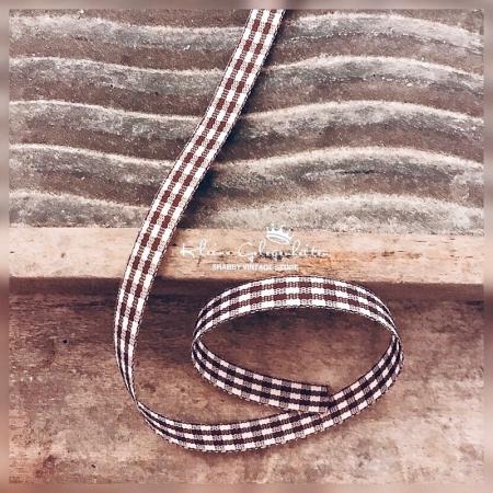 Schleifenband Karo Braun Weiss 2m