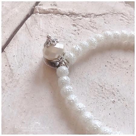Armband Perlen Weiss gefrostet