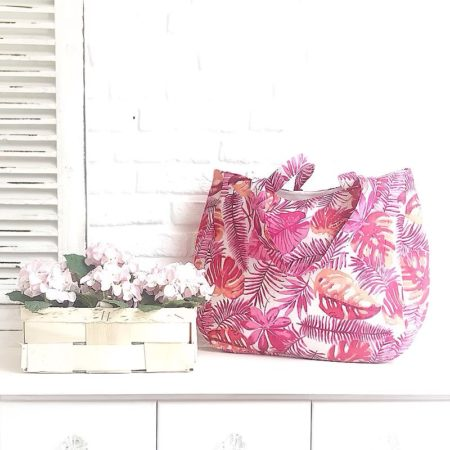 Zwillingsherz Tasche Shopper *Blätter* Rot Weiss