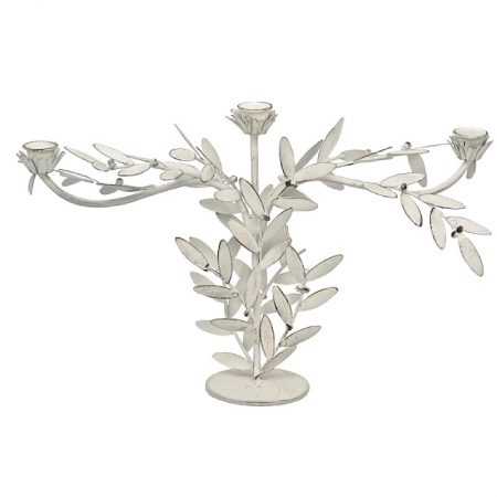 Kerzenleuchter Blume Metall Shabby Weiss