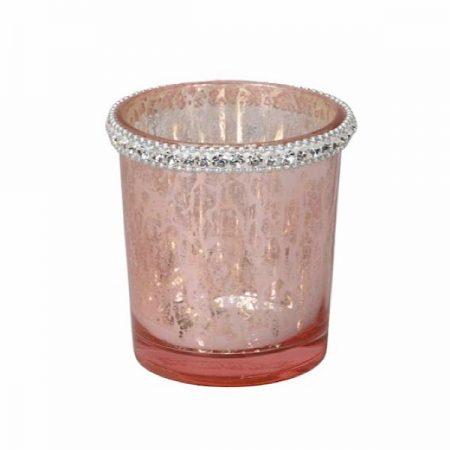 Windlicht Glas Strass Rosa