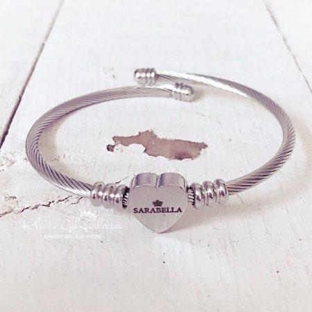 Sarabella Armreifen mit Herz in Silber