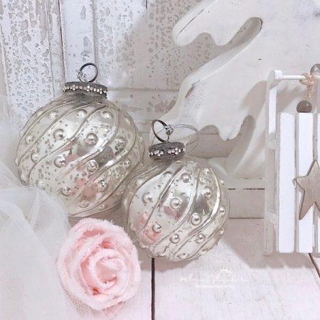 Baumkugeln Glas Silber Perlen Motiv
