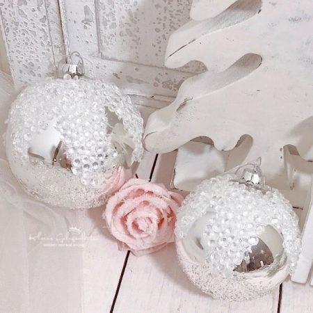 Weihnachtskugel Glas mit Perlen
