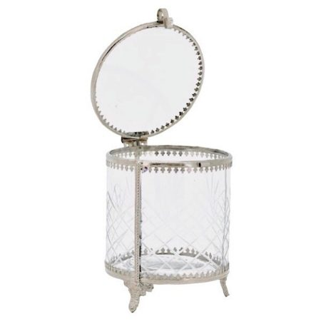 Schmuckglas mit Schliff Silber Glas Metall