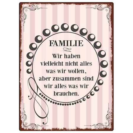 Interluxe MetallSchild Familie…. Vintage