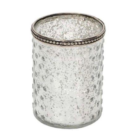 WindLicht Glas MetallRand Sterne Silber
