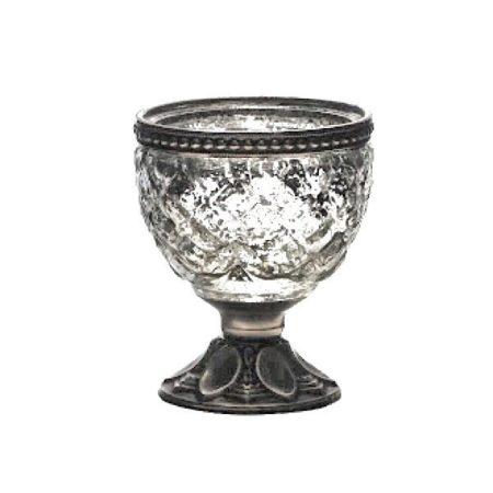 Teelichtglas auf Fuss Silber Ø 7*8,5cm