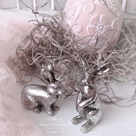 Mini Hasen Antik Silber ( 2-teilig )