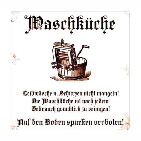 MetallSchild *Waschküche* Weiss Braun