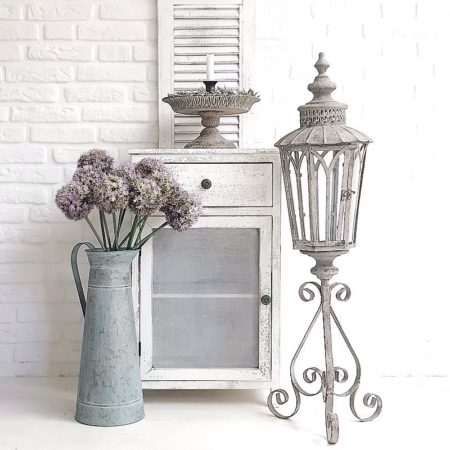 GartenLaterne Glas Metall Antik Grau