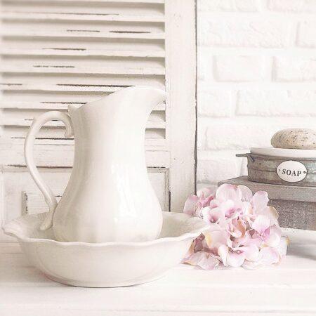 Waschschüssel mit Kanne Keramik Cream-Weiss Clayre & Eef