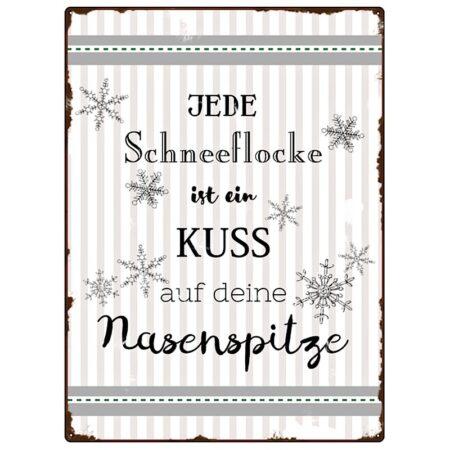 Interluxe MetallSchild * Jede Schneeflocke ist ein Kuss…. Wandschild