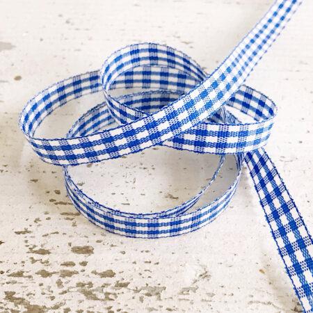 Schleifenband Karo Blau Weiss