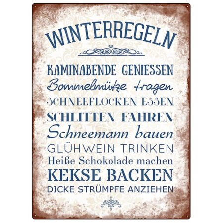 Interluxe MetallSchild * Winterregeln Wandschild Vintage