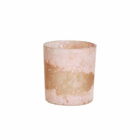 TeelichtHalter Glas Shabby Rosa